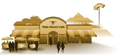 Illustration represents restaurants and dining portion of the virtual community.