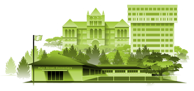 Illustration of school buildings represents Education section of the Virtual Community.
