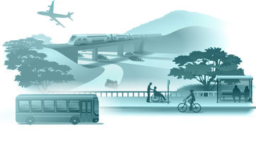 Illustration of various vehicles represents the Transportation Section.