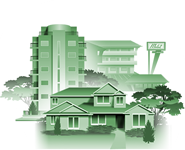 Illustration representing Homes & Lodging section of virtual community.