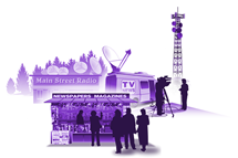 Illustration representing media section of the virtual community.